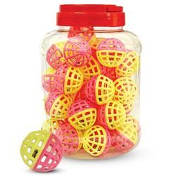 """Игрушка 3825 для кошек """"Мяч-погремушка"""", желто-розовый, d40мм"""