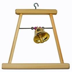 Качель для попугая деревянная с колокольчиком