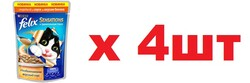 Quatro - Феликс 85гр - Индейка/Бекон (соус) (Felix) - Набор из 4-х штук