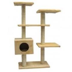 Комплекс СМАРТ многоуровневый, с одним квадратным домиком. (сизаль, мех Plush, 6
