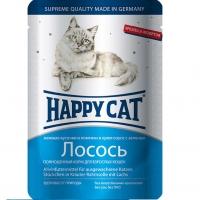 Хэппи Кэт пауч 100гр - Ломтики в Соусе - Лосось (Happy Cat)