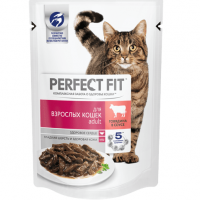 Перфект Фит 85гр - Говядина, для взрослых кошек, пауч (Perfect Fit)