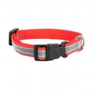 Ошейник капроновый Красный 1,5см, светоотражающая лента (Dog&Vogue)