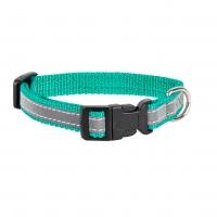 Ошейник капроновый Зеленый 1,5см, светоотражающая лента (Dog&Vogue)