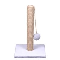 Когтеточка Столбик джутовый на меховом основании, квадратный, 30х30х50см (Кот Лукас)
