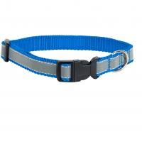 Ошейник капроновый Синий 2,5см, светоотражающая лента (Dog&Vogue)