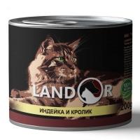 Ландор 200гр - Индейка/Кролик, корм для кошек (Landor)