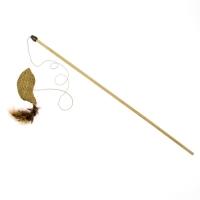 Дразнилка-удочка Рыбка с кошачьей мятой и перьями ЭКО 50см деревянная палочка (Кот Лукас)