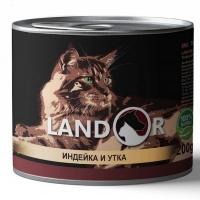 Ландор 200гр - Индейка/Утка, корм для кошек (Landor)
