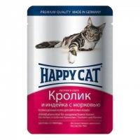 Хэппи Кэт пауч 100гр - Соус - Кролик/Индейка (Happy Cat)
