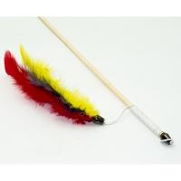 Дразнилка-удочка Радужные перья 50см деревянная палочка (Кот Лукас)