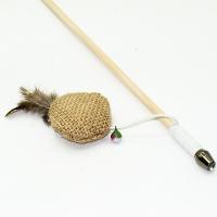 Дразнилка-удочка Шарик с кошачьей мятой и перьями ЭКО 50см деревянная палочка (Кот Лукас)