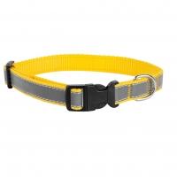 Ошейник капроновый Желтый 1,5см, светоотражающая лента (Dog&Vogue)