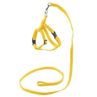"Комплект ECO ""Sport Classic"" Желтый - поводок 1см х 120см+шлейка, обхват груди 30-45см, синтетика"