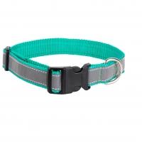 Ошейник капроновый Зеленый 2,5см, светоотражающая лента (Dog&Vogue)