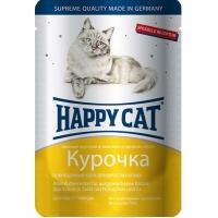 Хэппи Кэт пауч 100гр - Ломтики в Соусе - Курица (Happy Cat)