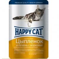Хэппи Кэт пауч 100гр - Желе - Цыпленок/Печень (Happy Cat)