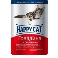 Хэппи Кэт пауч 100гр - Соус - Говядина/Баранина (Happy Cat)