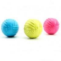 Мяч каучук 6,5см, выпуклые полосы, пищалка