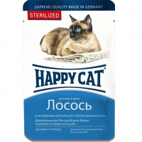 Хэппи Кэт пауч 100гр - Желе - Лосось - Стерилизед (Happy Cat)