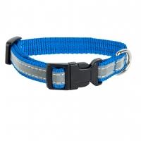 Ошейник капроновый Синий 1,5см, светоотражающая лента (Dog&Vogue)