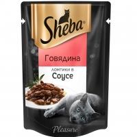 Шеба Плежер 85гр - Говядина, соус (Sheba)