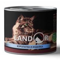 Ландор 200гр - Куропатка/Индейка, корм для кошек (Landor)