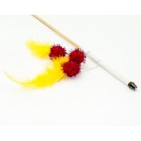 Дразнилка-удочка Салют из перьев с шариками 50см деревянная палочка (Кот Лукас)