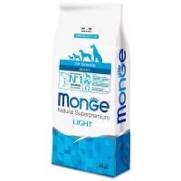 Монж Лайт низкокалорийный корм для собак всех пород 12кг, Лосось  (Monge)