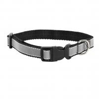 Ошейник капроновый Черный 1,5см, светоотражающая лента (Dog&Vogue)