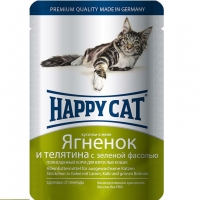 Хэппи Кэт пауч 100гр - Желе - Ягненок/Телятина (Happy Cat)