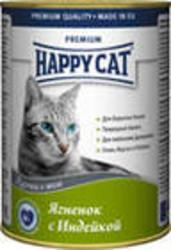 Хэппи Кэт консервы для кошек 400гр - Ягненок и Индейка (кусочки в желе)