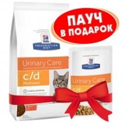 Хилс для кошек. Диета 400гр C/D + пауч 85гр в подарок