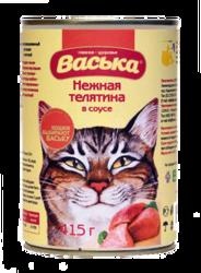 Васька консервы для кошек 415гр - Телятина в соусе