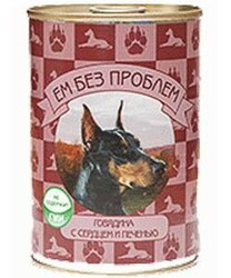 """""""Ем без проблем"""" консервы для собак 410гр - Говядина с Сердцем и Печенью"""