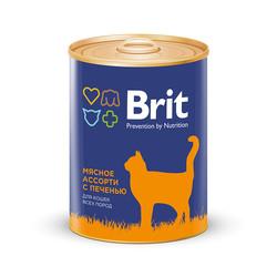 Брит для кошек 340гр - Мясное ассорти с печенью