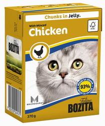 Bozita для кошек, мясные кусочки в желе с рубленой Курицей 370гр