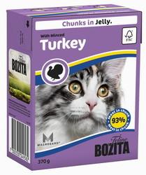 Bozita для кошек, мясные кусочки в желе с рубленной Индейкой 370гр