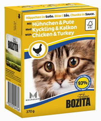 Bozita для кошек, мясные кусочки в соусе с Курицей и Индейкой 370гр