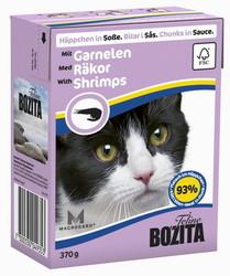 Bozita для кошек, мясные кусочки в соусе с Креветками 370гр