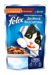 Феликс Двойной вкус 85гр - Индейка/Печень (в желе)