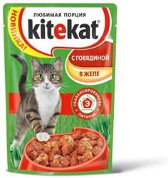 Китекет консервы для кошек 100гр - Говядина - кусочки в желе