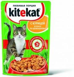Китекет консервы для кошек 100гр - Курица - кусочки в соусе