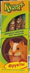 Кузя+ медовые палочки для грызунов 4шт - Фрукты