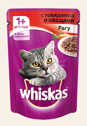 Вискас для кошек 85гр - Рагу с Говядиной и овощами