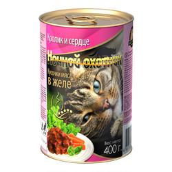 Ночной охотник консервы для кошек 400гр - Кролик и Сердце (в желе)